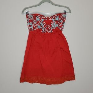 Judith March Embroidered Strapless Dress Red Blue